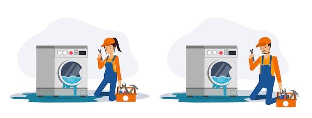 Ein satz männlicher und weiblicher mechaniker kommt, um die waschmaschine zu überprüfen und zu reparieren, die wasserleck, überschwemmung. flache vektorgrafik 2d-cartoon-charakter.