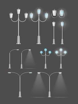 Ein satz metallischer laternen, die glänzen. laternenpfahl mit realistischem licht. vektor.