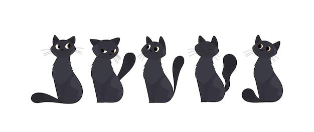 Ein satz nette schwarze katze. geeignet für aufkleber und postkarten. isoliert. vektor.