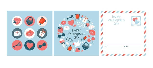 Ein satz niedliche runde aufkleber und karte des valentinstags.