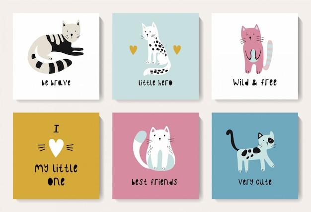 Ein satz postkarten mit einer niedlichen katze.