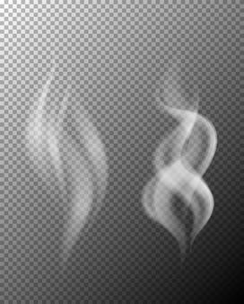 Ein satz rauch auf transparentem hintergrund