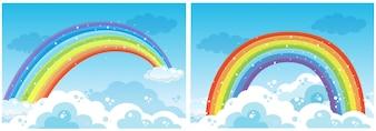 Ein Satz Regenbogen auf Himmel