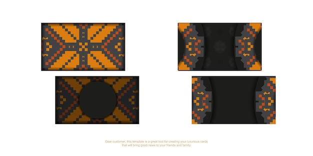 Ein satz schwarze visitenkarten mit einer orange slowenischen verzierung. druckfertiges visitenkartendesign mit platz für ihren text und luxuriösen mustern.