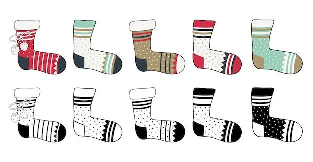 Ein satz socken mit einem muster in verschiedenen farben und schwarzen linien winterelement von kleidungsstücken
