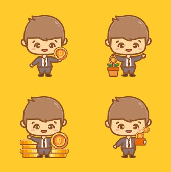 Ein satz süßer geschäftsmann, der bitcoins hält, investiert in das sparen und wird reich an konzept cartoon-vektor