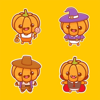 Ein satz süßer kürbischaraktere trägt halloween-kostüm. netter aufkleber cartoon-vektor