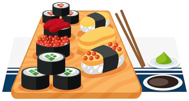 Ein satz sushi auf platte