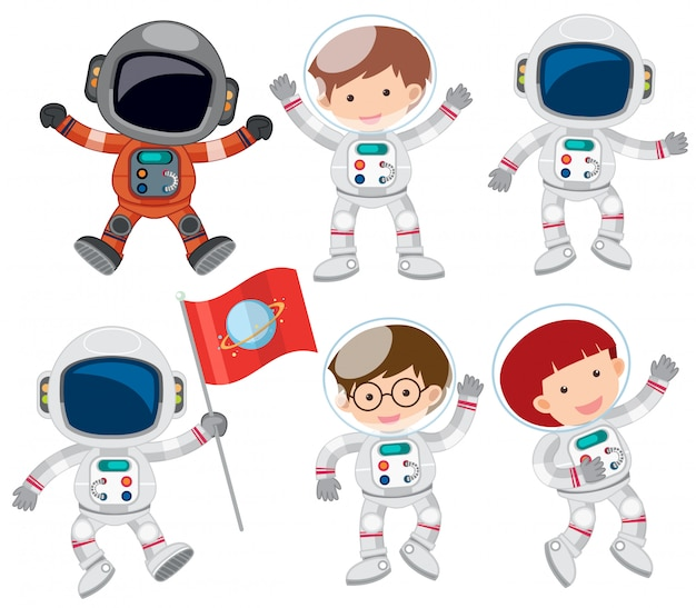Ein satz von astronaut
