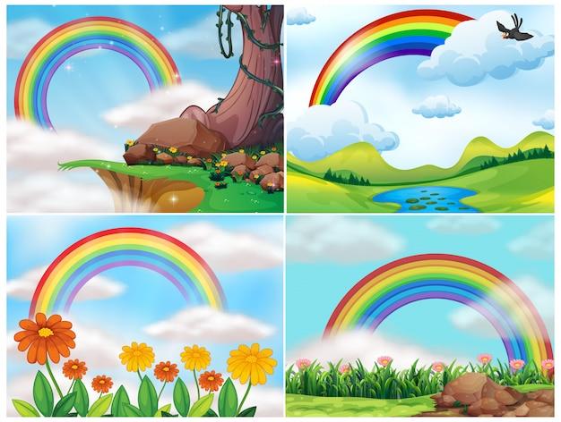 Ein satz von berglandschaft und regenbogen