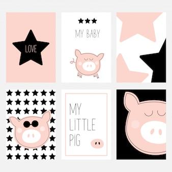 Ein satz von sechs karten mit einem niedlichen schwein