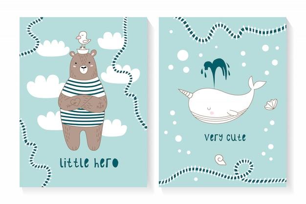 Ein satz von zwei karten mit einem niedlichen bären und einem wal
