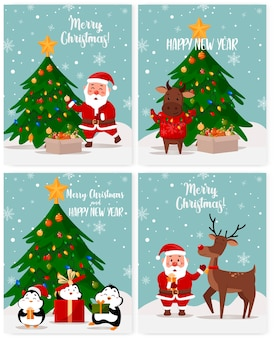Ein satz weihnachtsgrußkarten. karikaturillustration