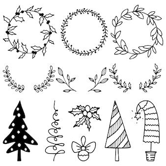 Ein satz weihnachtskränze und weihnachtsbäume zum dekorieren einer weihnachtskarte.
