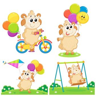 Ein schaf, das mit ballonen, fahrrad, drachen und schwingen, eid al-adha-grußkarte spielt