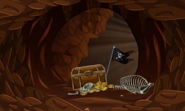 Ein schatz in der dunklen höhle