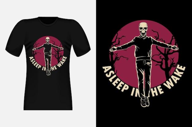 Ein schlaf im kielwasser mit totenkopf-silhouette-vintage-t-shirt-design