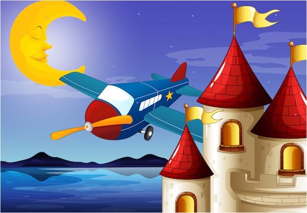 Ein schlafender mond, ein flugzeug und ein schloss