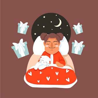 Ein schlafendes kleines mädchen, das in der winternacht von weihnachtsgeschenken träumt