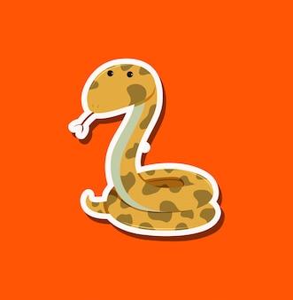 Ein schlangencharakter auf orange hintergrund