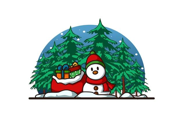 Ein schneemann, der schal und hut mit einigen geschenken im wald an weihnachten trägt
