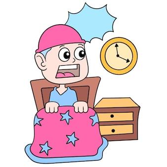 Ein schockierter junge wacht mitten in der nacht beim schlafen auf, vektorgrafiken. doodle symbolbild kawaii.