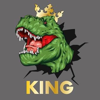 Ein schöner dinosaurier in einer krone.