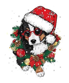 Ein schöner hund in einem weihnachtskranz