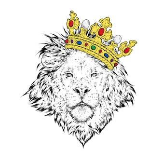 Ein schöner löwe in einer krone.