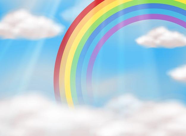 Ein schöner regenbogen im himmel