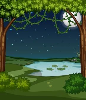 Ein schöner teich in der nacht