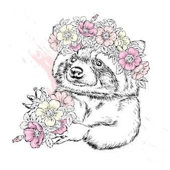 Ein schöner waschbär in einem kranz aus wilder rose. frühling und sommer ein blumenstrauß.