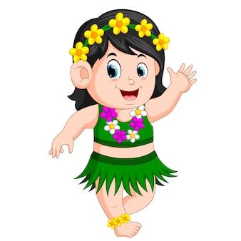 Ein schönes Mädchen in hawaiischer Kleidung tanzt Hula