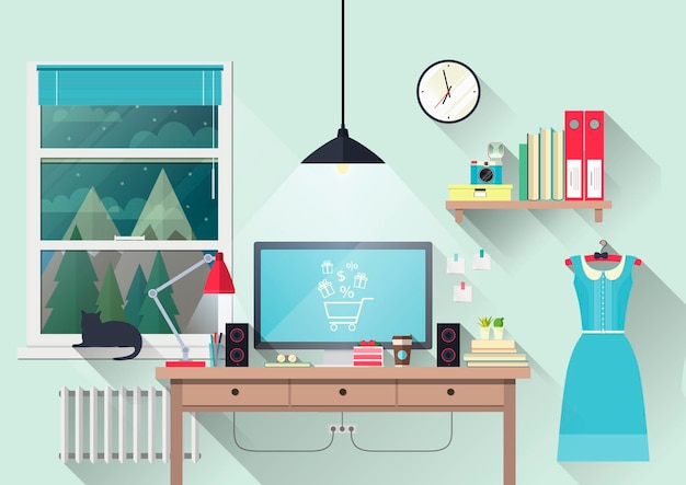 Ein schreibtisch mit einem computer. arbeitsbereich zu hause. illustration