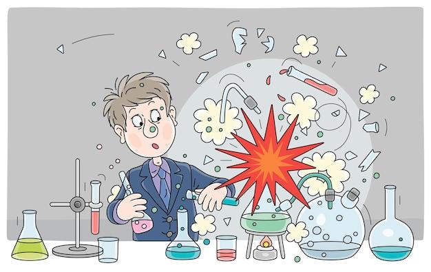 Ein schüler mit einer großen wissenschaftlichen idee machte während eines gefährlichen experiments mit chemischen reagenzien und geräten im chemieunterricht in einer schulklassenvektor-cartoon-illustration eine explosion