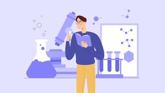 Ein schüler oder ein schulkind studiert chemie aus einem lehrbuch oder führt experimente durch. ein junger lehrer gibt chemieunterricht.