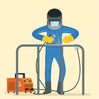 Ein schweißer verwendet einen bohrer und viele werkzeuge, um den tisch zu reparieren