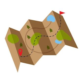 Ein separates element. karte. weg. richtung. vektor-illustration.