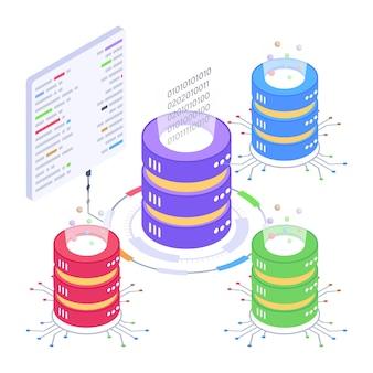Ein serverraum-symbol im isometrischen design-premium-download