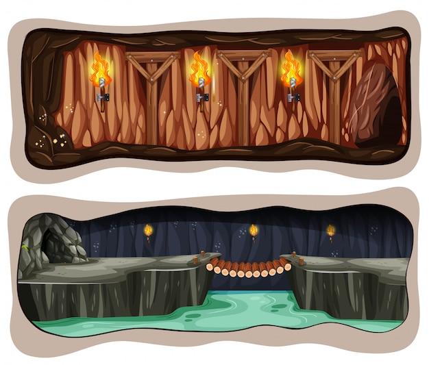 Ein set für unterirdische mine