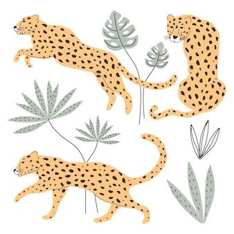 Ein set mit leopardentieren und exotischen pflanzen vektorillustration zum drucken auf stoffpostkarte