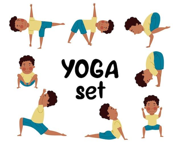 Ein set mit yoga-posen. das kind treibt sport.