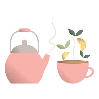 Ein set teekanne und teebecherheißer teebecherteeblätter und zitronenscheiben für tee