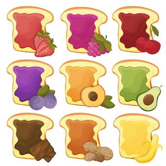 Ein set von neun 9 süßen sandwiches mit schokolade, banane, gelee, erdnussbutter, beeren