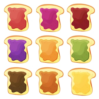 Ein set von neun süßen sandwiches mit schokolade, bananengelee, erdnussbutter, beerengelee