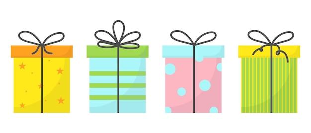 Ein set von vier geschenken mit bändern und schleifen ein set von geschenkboxen ein set von geschenken für den urlaub