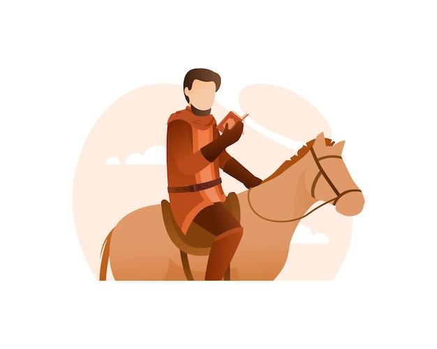 Ein soldat las den koran auf seinem pferd