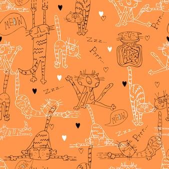 Ein spaß nahtlose muster mit niedlichen katzen auf orange