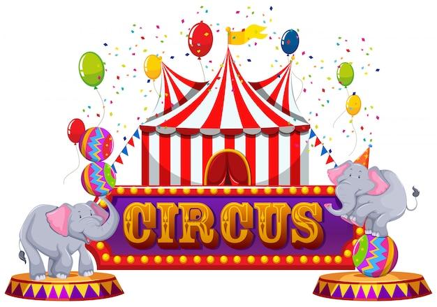 Ein spaß-zirkus und glückliches tier