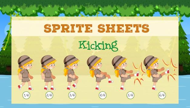 Ein sprite-sheet, das die spielvorlage tritt
